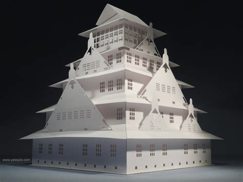 Origami Architecture - the osaka castle pop up card kirigami origamic