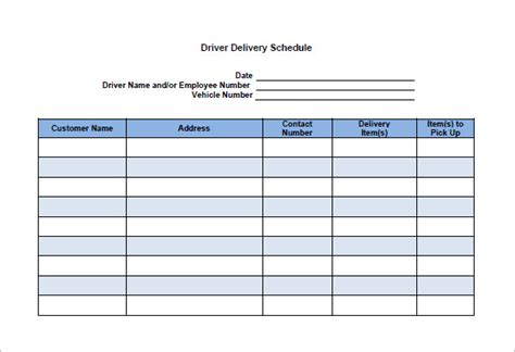 material delivery schedule template material delivery schedule template image collections