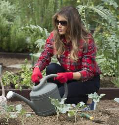 Garden Wear Uk Melania Wears Flannel Shirt In White House Garden