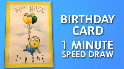 How To Draw Birthday Cards Step By Step How To Draw Minion Birthday Card Step By Step Learning