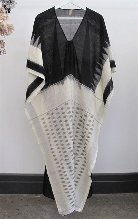 ikat caftan with black front white bodies caftans and saris