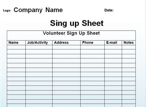 printable sign up sheet template free sign up sheet template excel and word excel tmp