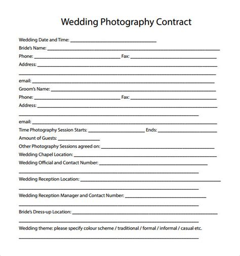 free photography contract templates wedding photography contract template 14 free