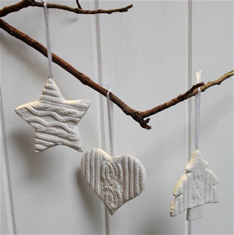 original three ceramic knitted christmas decorations