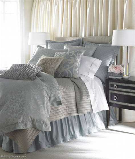 blue and silver bedding lili alessandra jackie in luxurious silk tencel fabric in blue with silver jacquard