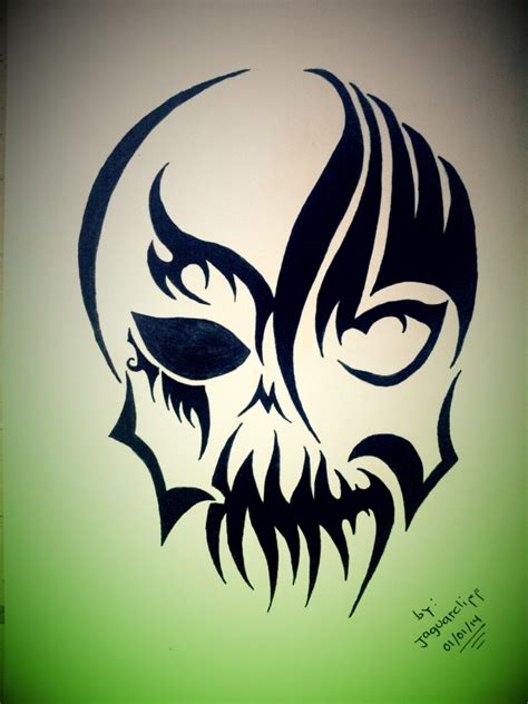 devil tribal tattoo s skull tribal by jaguarcliff on deviantart