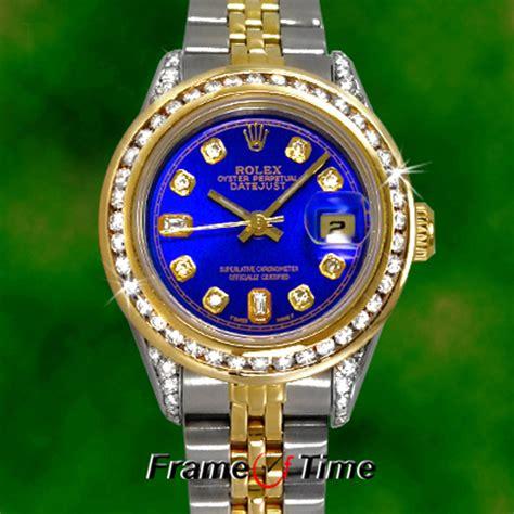 rolex datejust gold steel ss tt blue