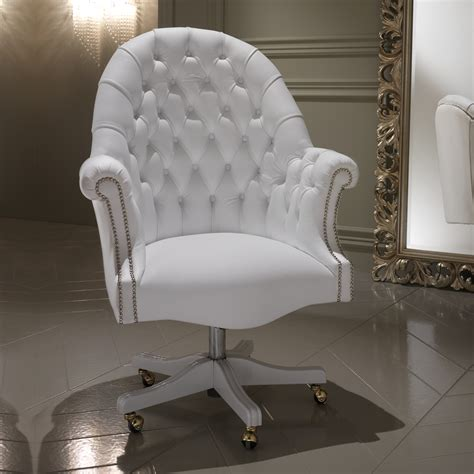 luxury italian white leather executive office chair - White Leather Chair