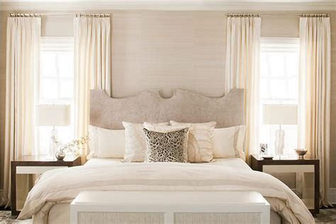 Neutral Bedroom Curtains Neutral Bedroom Beige White Ivory And Taupe Upholstered Headboard Bordered Duvet Modern