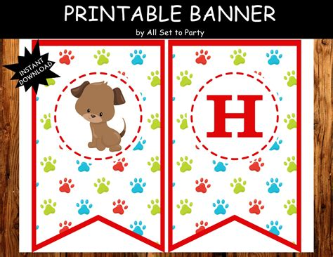 11 piece birthday party printable set instant download puppy birthday banner puppy party decorations puppy theme