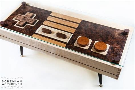 crafted nintendo controller coffee table maple
