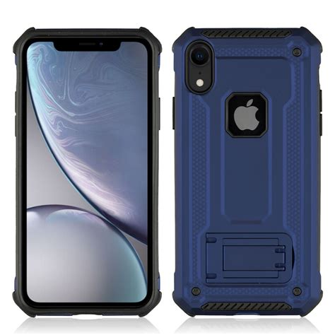 shockproof pc tpu armor protective for iphone xr with holder blue alexnld