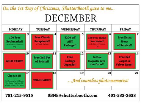 What Calendar Days Are The 12 Days Of 12 Days Of Shutterbooth New