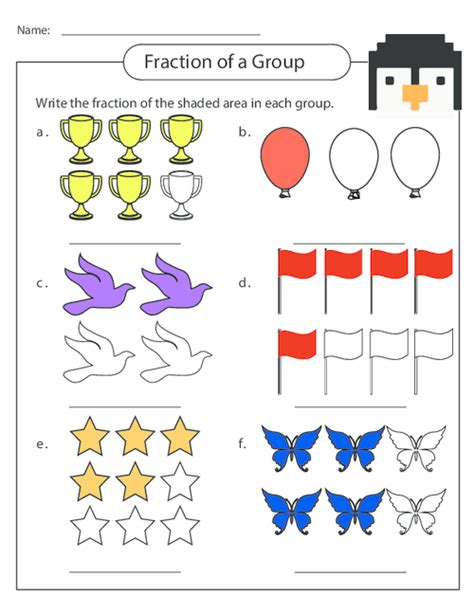 worksheets fractions of groups free worksheets 187 parts of a fraction worksheet free math worksheets for kidergarten and