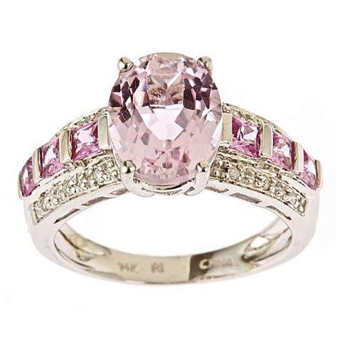 14k white gold kunzite pink sapphire and ring