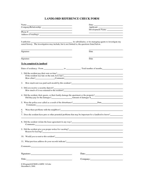 rental reference template best photos of landlord verification form free rental