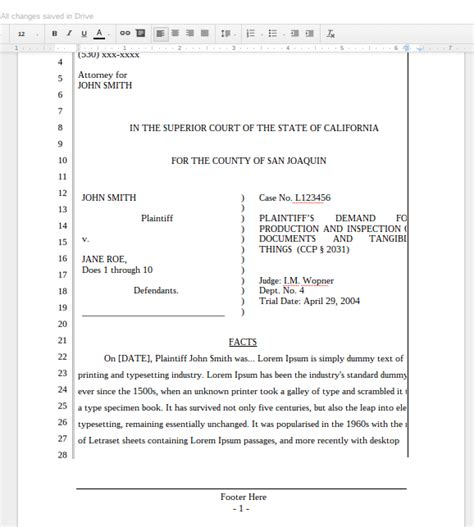 Pleading Template A New Google Docs Pleading For California Lawyers The Droid Lawyer