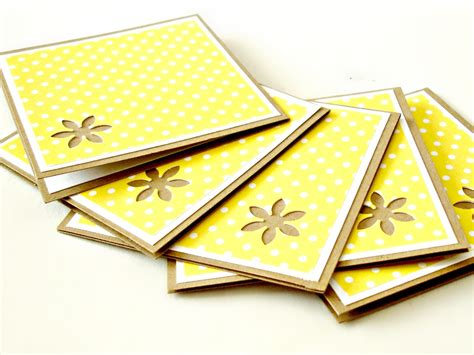 Handmade Note Cards - yellow and white mini polkadot mini note cards set of 8