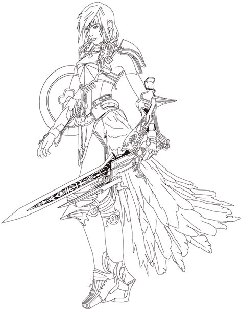 lightning ff13 2 lineart practice by primavistax on
