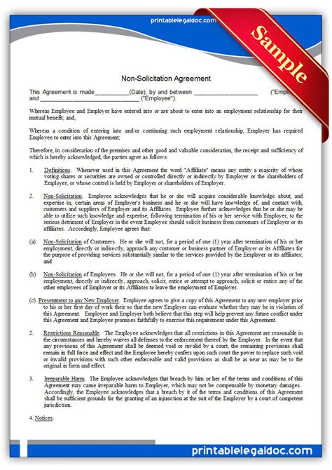 non solicitation agreement template free printable nonsolicitation agreement form generic