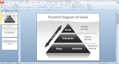 goal pyramid template pyramid of goals diagram for powerpoint