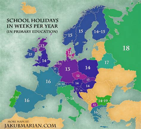 school holidays by country in europe map