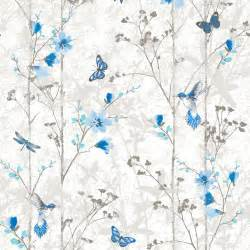 blue flowers and butterflies shabby chic wallpaper the shabby chic guru