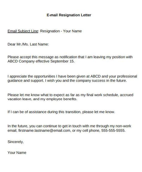 Resignation Letter Email Sle by Resignation Letter Email Pdf Docoments Ojazlink