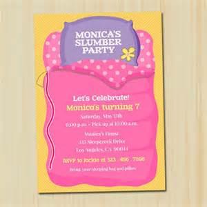 slumber invitation partytimedecor cards on artfire