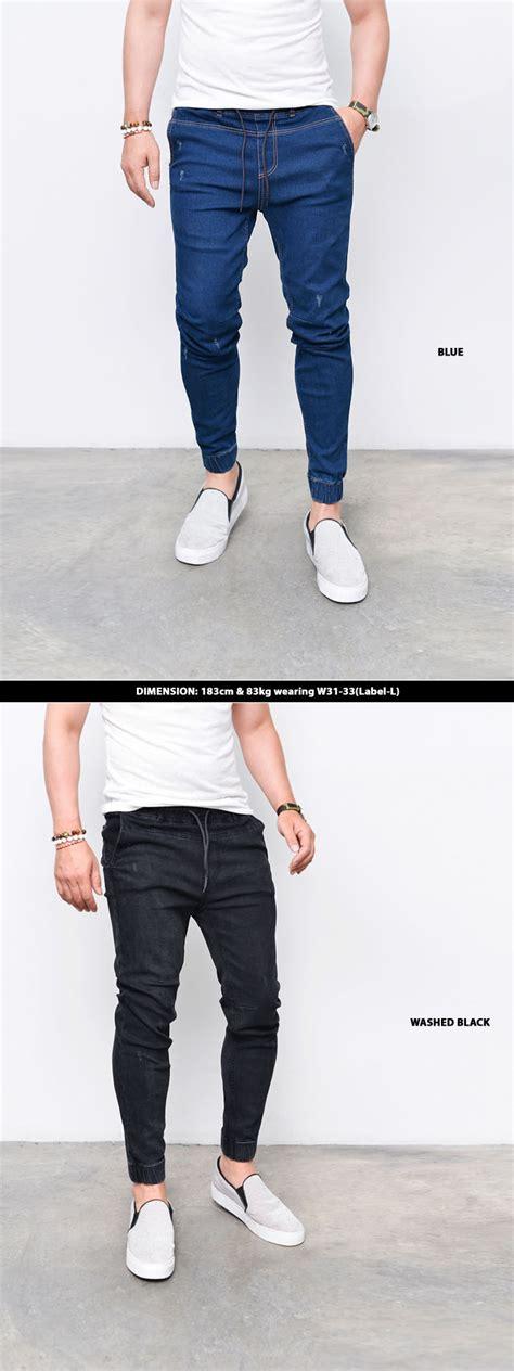 Jogger Semi korea fashion slim semi baggy mens denim cuffed jogger sweatpants guylook ebay