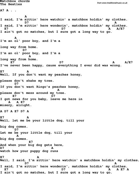 lyrics guitar chords song lyrics with guitar chords for matchbox the beatles