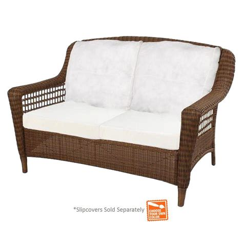 hton bay spring haven brown wicker patio loveseat with