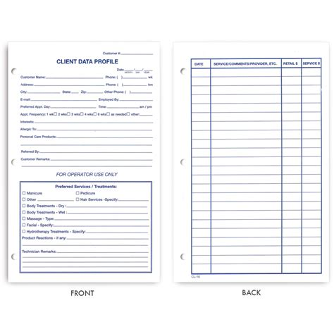 client record cards template client record card template direct salon supplies customer