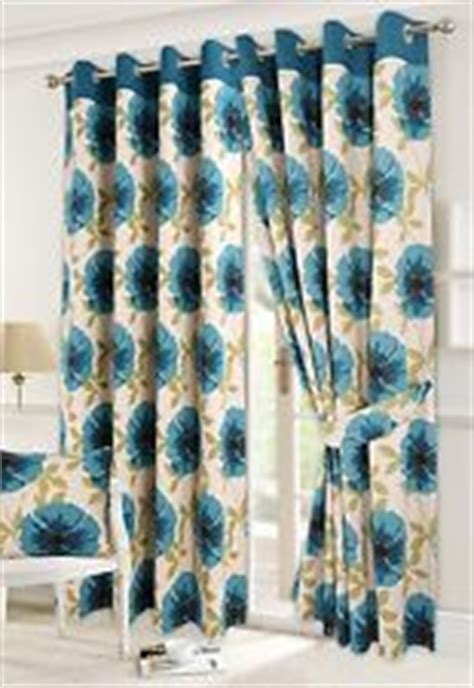 90x108 curtains isla teal cream poppy print heavy lined eyelet curtains
