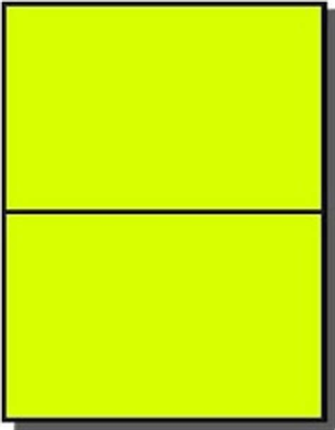 200 Large Fluorescent Yellow Laser Only Labels 8 1 2 X 5 1 2 100 Sheets Half Sheet Or Half Avery Half Page Labels Template