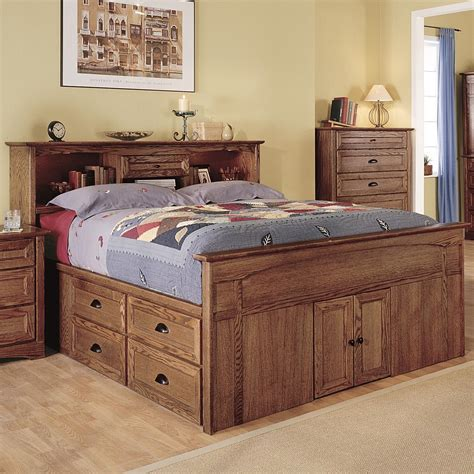 queen bed with bookcase headboard bedroom rustic style captain bed queen size with storage