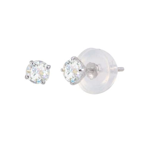 Diskon Cubic Zirconia Grade A6 Best Grade 8mm 14k yellow gold stud earrings cubic zirconia bezel set jewelryland