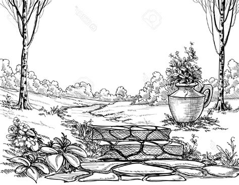 drawing of garden pencil drawing flower garden drawing of sketch