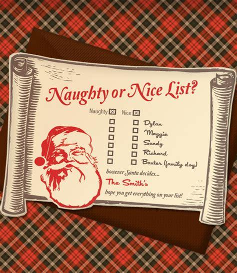 nice printable christmas cards christmas invitation templates with naughty or nice list