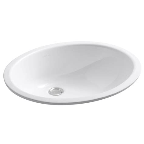 bathroom sinks kohler shop kohler caxton white undermount oval bathroom sink with overflow at lowes com