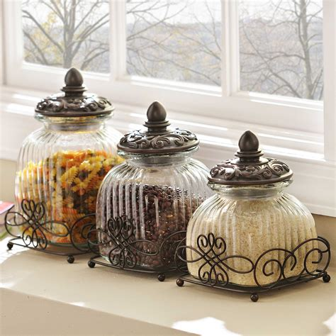 glass kitchen canister set loop glass canister set of 3 kirklands