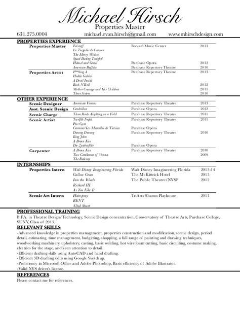 Scenic Carpenter Sle Resume by Resume Prop Master April 2014 No Ref