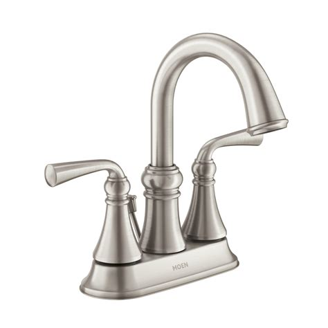 bathroom faucets brushed nickel shop moen wetherly spot resist brushed nickel 2 handle 4