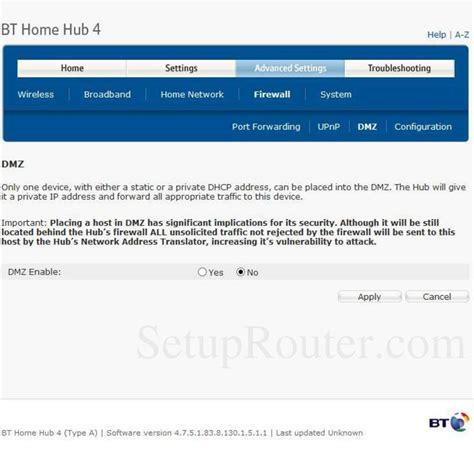 bt home hub 4 screenshot dmz