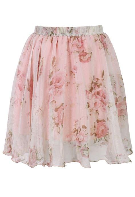Floral Print Chiffon Skirt pink floral print chiffon skirt