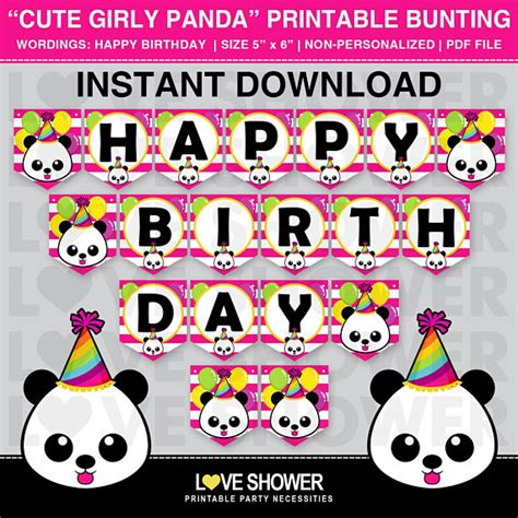 cute printable birthday banner cute girly panda printable flag banner happy birthday banner