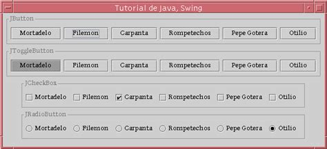 java awt swing tutorial tutorial de java swing grupos de botones