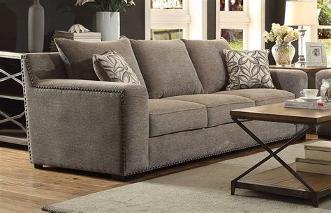 gray sofa with nailhead trim alano contemporary gray chenille sofa loveseat w