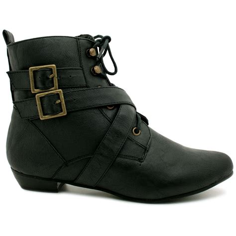 new womens leather style buckle lace up flat pixie ankle