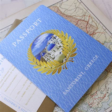 Greek Monogram Image Passport Wedding Invitation